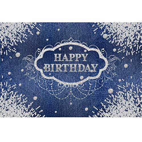 Laeacco 10x7ft Happy Birthday Vinyl Photography Background Swanky Denim Cloth View Diamonds Corner Decors Backdrop Luxurious Child Adult Birthday Party Banner Wallpaper Studio ()