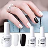 Vishine 4pcs Black White Gel Nail Polish Color Collection Base Top Coat Soak Off UV LED Gel Color Set Nail Lacquers Manicure Nail Art Halloween Gift Kit 15ml