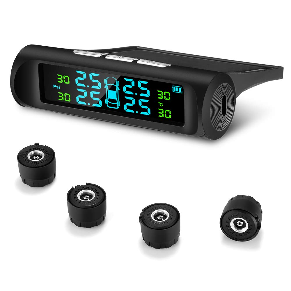 AUTOLOVER TPMS Tire Pressure Monitoring System Solar Power Universal Wireless Car Alarm System with 4 DIY External Sensors(0psi-99psi), Temperature and Pressure LCD Display, Real-time Alarm Function