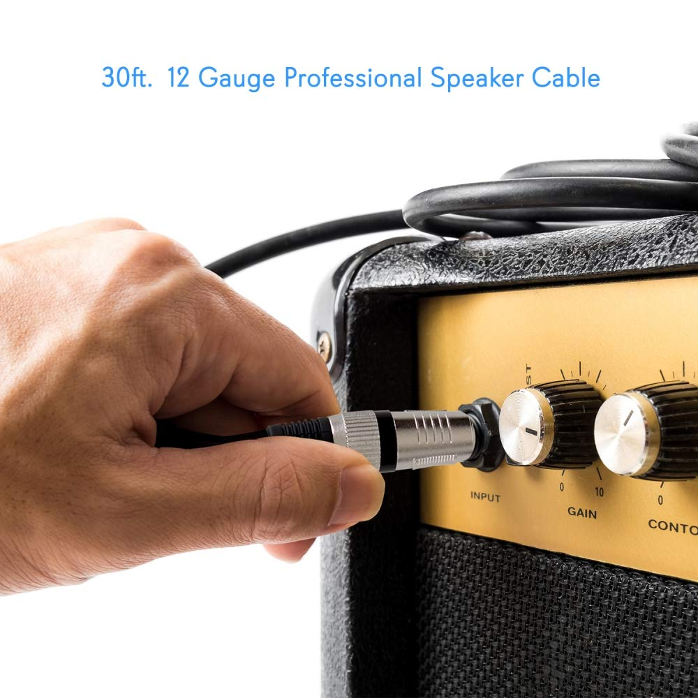 1 4 To Audio Connection Cord Inch Mono Jack Male 30 Wiring Ft 12 Gauge Black Heavy Duty Professional Speaker Guitar Cable Wire Delivers Sound
