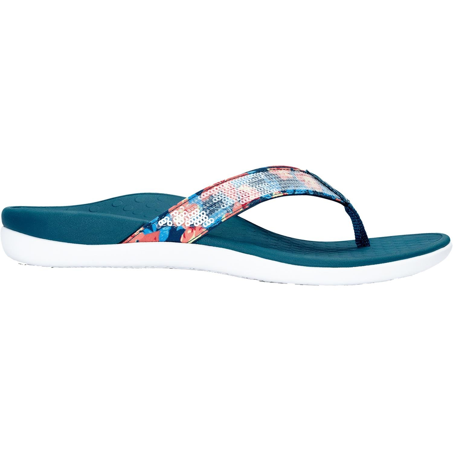 3675e042336ca Galleon - Vionic Womens Tide Sequins Toepost Sandal Teal Floral Size 8