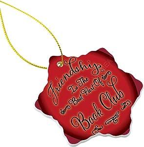 VinMea Hexagon Ornament for Christmas Tree Book Club Friendship Christmas Ornaments for Xmas Party and Christmas Decoration