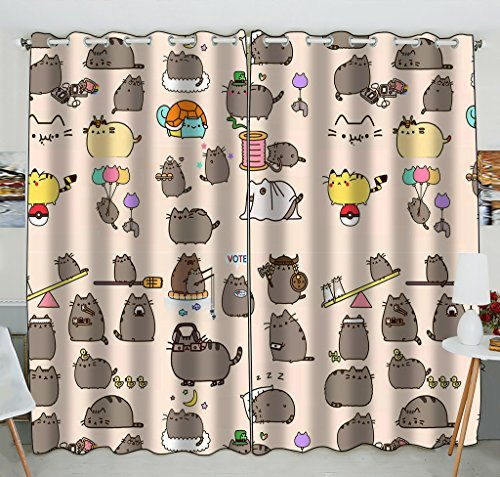 Custom Funny Hipster Cat Blackout Curtains Window treatment Panel Drapes 52(W) x 84(H) inches (Two Piece)