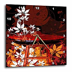 3dRose DPP_116381_3 Pretty Ornate Japanese Bell Gong Decorated with Foliage Asian Oriental Art Wall Clock, 15 by 15-Inch