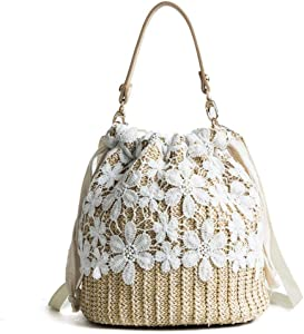 Women Straw Handbag Crossbody Bag for Women, Summer Beach Shoulder Bag Vintage Weave Tote Large Rattan Bag