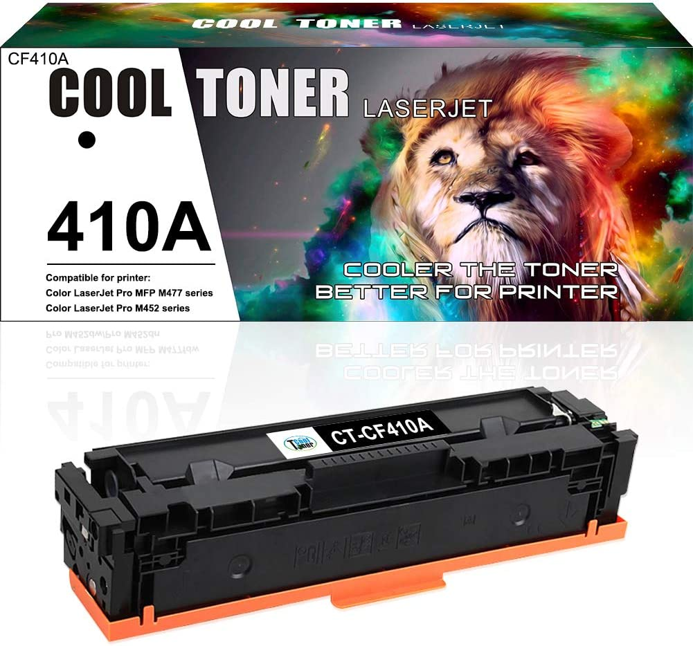Cool Toner Compatible Toner Cartridge Replacement for HP 410A CF410A Black Toner for HP Color Laserjet Pro MFP M477fnw M477fdw M477fdn M477 Pro M452dn M452nw M452dw M452 M377DW Printer Toner-1 Pack