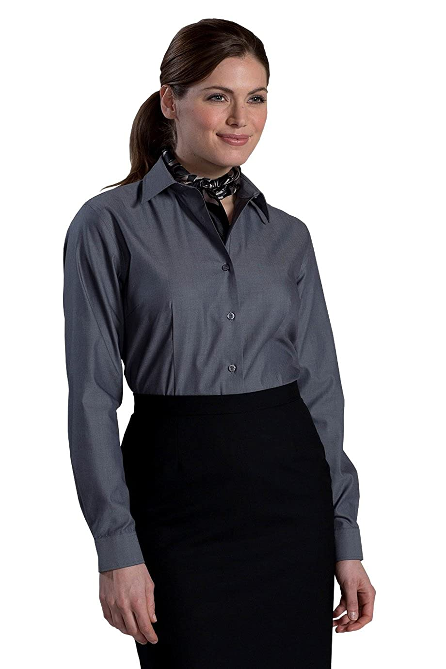 Edwards Womens No Iron Stay Collar Dress Shirt At Amazon Womens