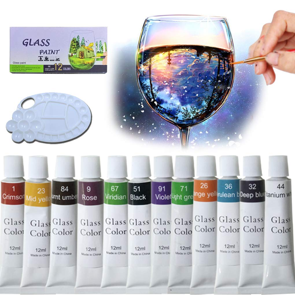 iMustech Glass Paint Set 12 Colors Non-Toxic Craft Porcelain Paint with  Palette, Transparent Stained Glass Ceramic Window Paint Kit for Wine Glass