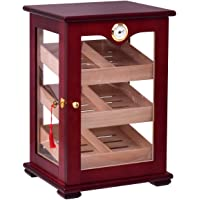 Giantex Countertop Cigar Humidor Cabinet Tempered Glass Lockable w/Humidifiers Hygrometer 150 Cigars