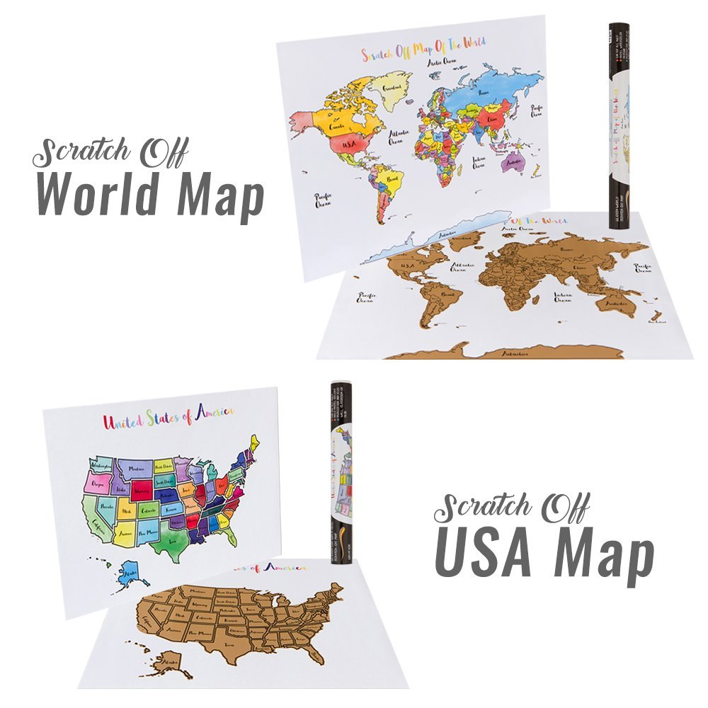 Amazon usa world scratch off map bundle includes 2 amazon usa world scratch off map bundle includes 2 individual watercolor pastel travel tracker maps united states world track countries us gumiabroncs Image collections
