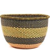 Fair Trade Ghana Bolga African No Handle Market Basket 15-17'' Across, #34507