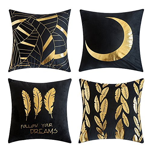 (MIULEE Pack of 4, Gold Stamping Soft Soild Decorative Square Outdoor Throw Pillow Covers Set Cushion Case for Sofa Bedroom Car 18 x 18 Inch 45 x 45 cm)