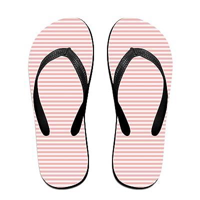 Double Happiness Summer Unisex Vanilla Stripe Background Classical Comfortable Flat Beach Flip-Flop