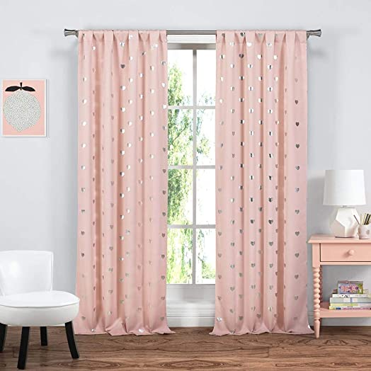 Lala Bash Kelly Heart Blackout Darkening Window Curtain 2 Panelss, 37 x 84, Pink