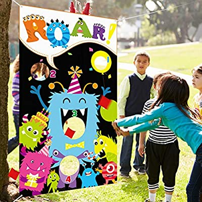 Monster Toss Game with 3 Bean Bags, Indoor and Outdoor Bean Bag Toss Game for Kids and Adults, Monster Theme Party Decorations and Supplies: Toys & Games