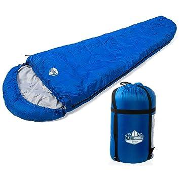 Saco de dormir tipo momia para varias estaciones, modelo 400GSM de California Basics. Apto