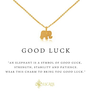 Lucky small elephant pendant necklace gold dipped lucky symbol 16 lucky small elephant pendant necklace gold dipped lucky symbol 16quot come with aloadofball Images