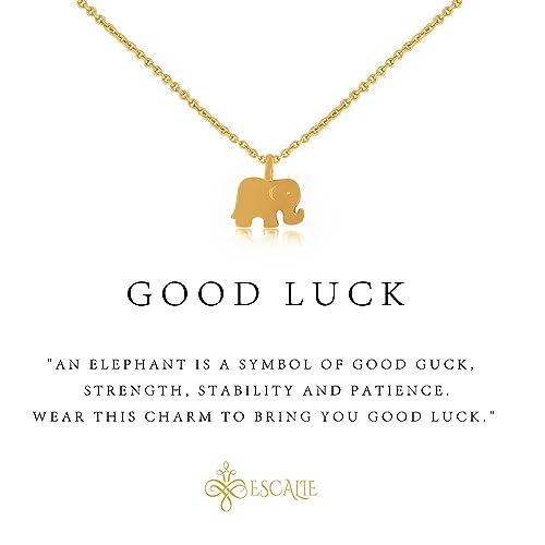 Amazon escalie elephant necklace elephant pendant necklace escalie elephant necklace elephant pendant necklace 24k gold plated lucky symbol 16quot aloadofball Gallery