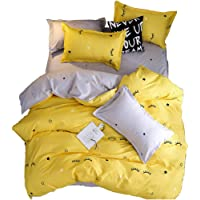 ED-Lumos Cute Yellow Eyelash Design Duvet Cover Set with 2 Pillowcases Bedding 4-Piece 3 Sizes(No Comforter Included)