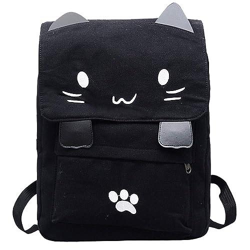 Mujer Bolso de la mochila de la escuela de la lona del gato del estudiante de