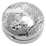 Sterling Silver Pill Box Round Shape Embossed Cat Face 1 3/8 inch