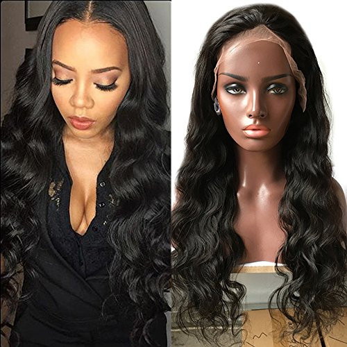 S-noilite 100% Unprocessed Brazilian Virgin Human Hair Wig Glueless Lace Front Wigs Long Body Wave Wavy Pre Plucked Natural with Baby Hair Wig for Black Women(14inch,1B-Off Black) by S-noilite