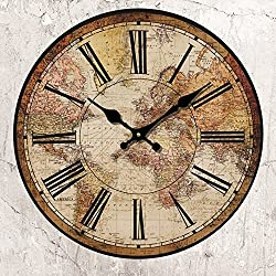 HUABEI Retro Wall Clock, Vintage World Compass Map Travel Lover 14 Inch Silent Wooden Wall Art Decor Analog Battery Operated Non-Ticking Bedroom Living Room Kitchen Office