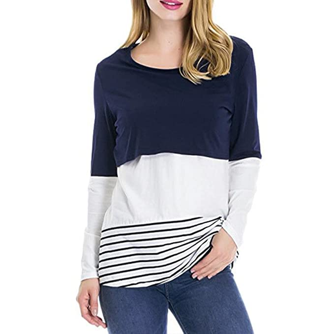 BBsmile camisa mujer verano blanca manga corta negra lunares larga talla grande sin mangas fiesta Mujer Empalme de encaje Embarazada Casual Bebé para la ...