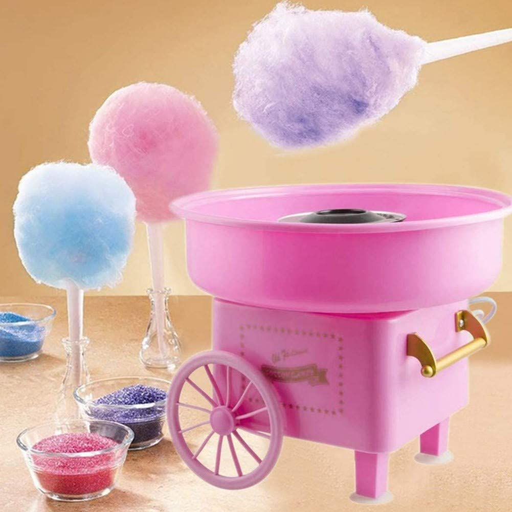 Nostalgia Vintage Fashion Mini Cotton Candy Machine Hard and Sugar Free Countertop Cotton Candy Maker Trolley Creative Gift Perfect for Family Party Blue