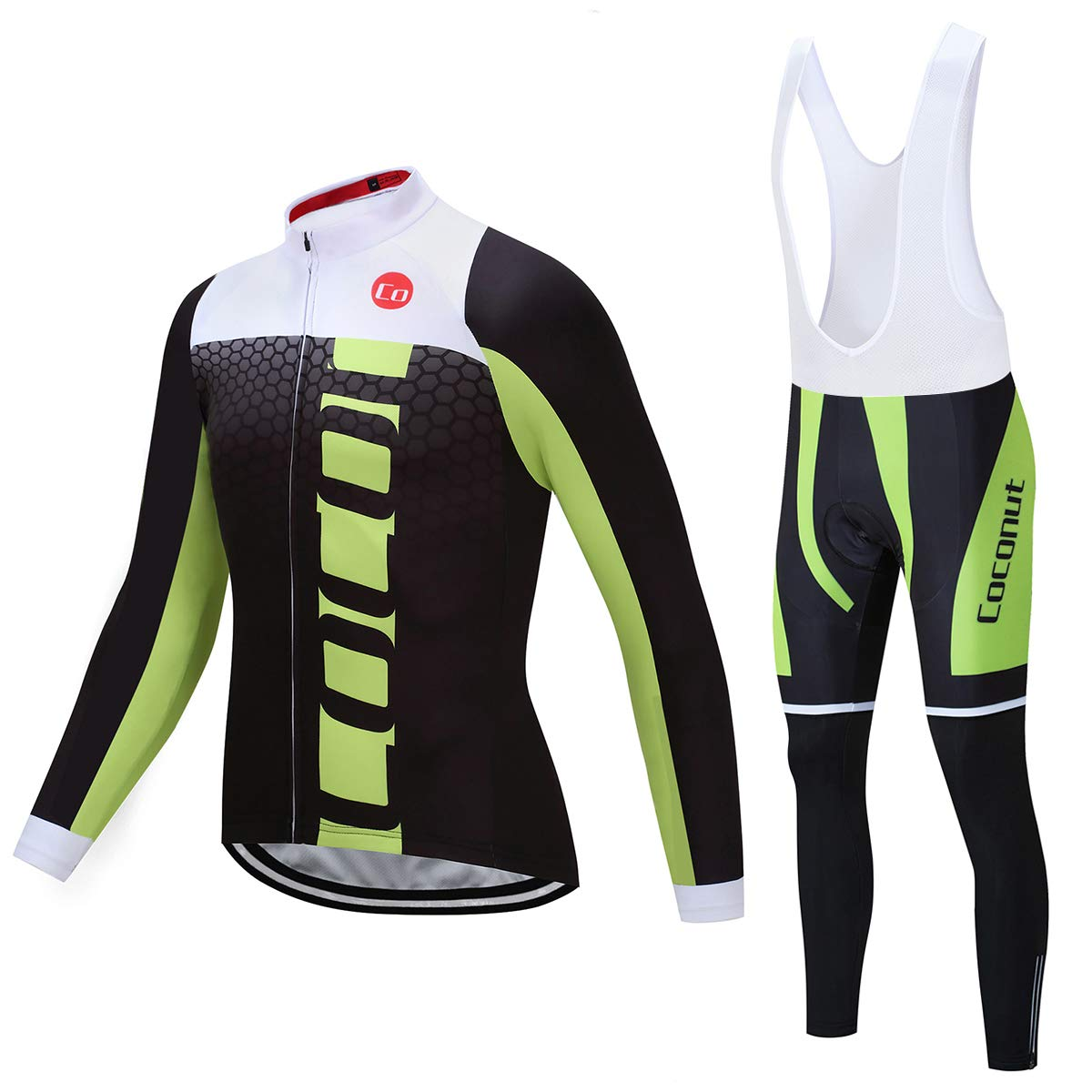 Coconut Ropamo Men's Cycling Jersey Suit Long Sleeve Road Bike Jersey Cycling Sets Tights with Padded (Medium, Black&Green) by Coconut Ropamo