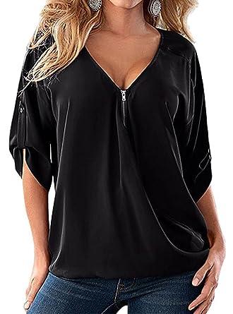 15ffab5a443 US Size Plus Summer Women s Chiffon Blouse Boyfriend T Shirt Cuffed Sleeve  Tops at Amazon Women s Clothing store