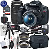 Canon EOS Rebel T7 DSLR Camera w/EF-S 18-55mm Lens + EF 75-300mm Lens + 2 x 32 GB Memory + Deluxe Bundle