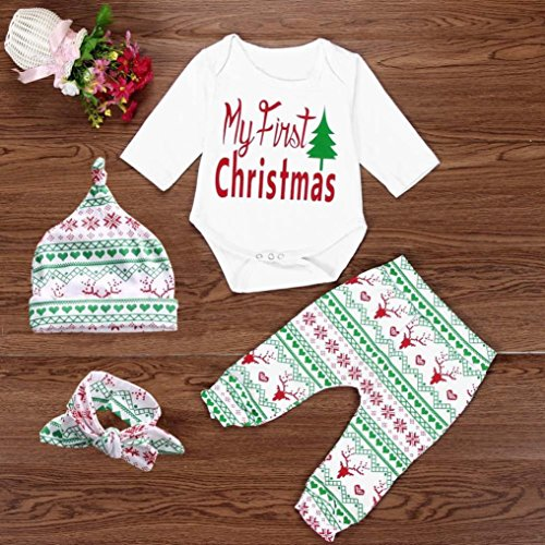 Christmas Gift!! Infant Baby Boy Girl Outfits Clothes Romper Pants Leggings Set (12-18M, White)
