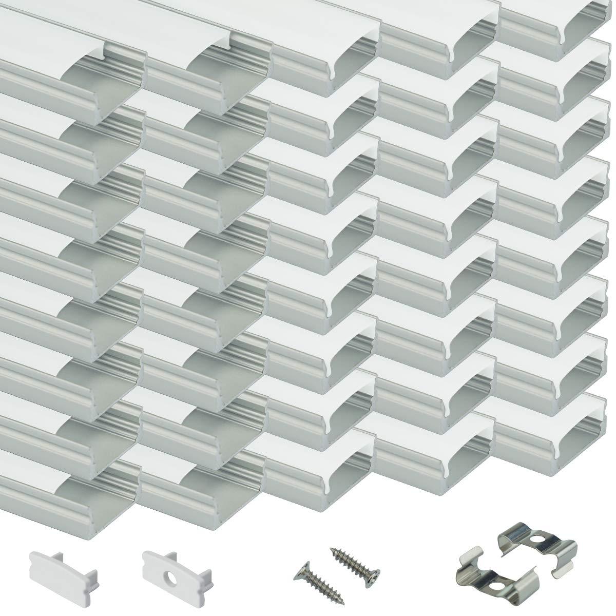 Muzata LED Channel System with Milky Cover Lense,LED Aluminum Profile Housing for Strip Tape Light Diffuser Track Segments U1SW 40PCS 3.3ft/1M U Shape