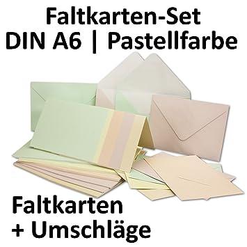 Perlmutt Karten Inklusive Briefumschläge Mit Geschenkschachtel! | 50er Set  | Blanko Pastellfarben Einladungskarten