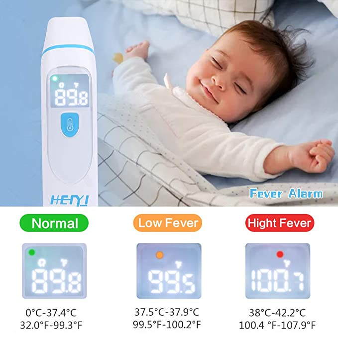HeiYi Medical Digital Infrared Ear Thermometer for Fever for Kids Adults Baby Digital Thermometer with Instant Reading Children Fever Warning Forehead Thermometer Memory Function