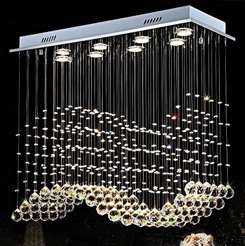 ChuanHan Modern Chandelier, Creative Personality Rectangular K9 Crystal Pendant Lights, Villa Parlour Duplex Staircase Decoration Hanging Ceiling Light/Lamps, Gu10, 602560