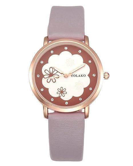 4335a7eb1b JSDDE Uhren, Armbanduhr Frauen Quarzuhr Damen Blumen Muster Elegante Analoge  Uhr mit Lederarmband (Hellgrau