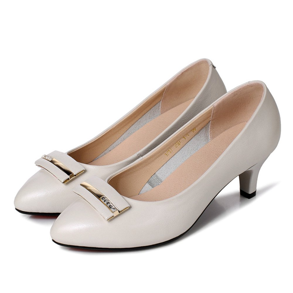 Frauen Echtes Leder Kätzchen Heels Kleid Arbeit Arbeit Arbeit Büro Closed Toe Pumps Flach Hochzeit Court Schuhe ec4b15