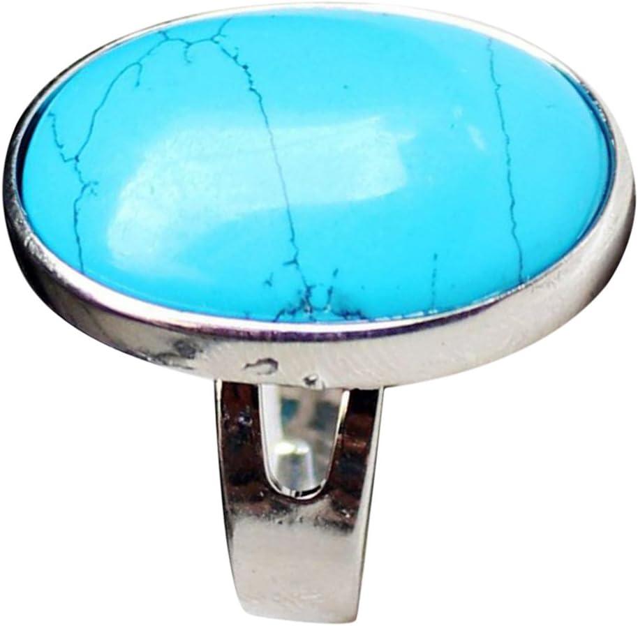 IPOTCH Anillo De Boho De La Vendimia, Banda De Dedo De Piedras Preciosas Naturales, Joyería Personalizada De Anillo De ópalo Marquesa - Azul