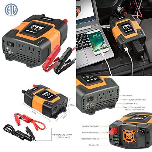 750W Power Inverter Dc 12V To 110V Ac Converter With 3.1A Dual Usb Portable New ✅