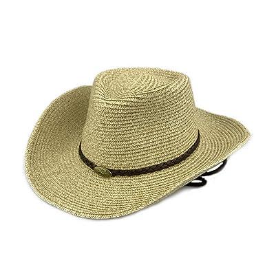 August Jim Mens Summer Straw Hats Outdoor Beach Travel Western Cowboy Caps  Unisex e77fb82d979