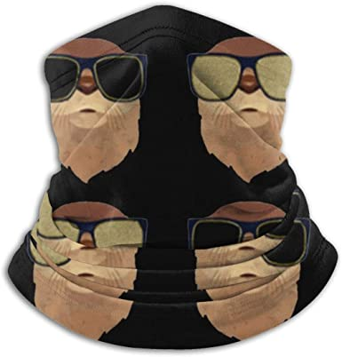 Microfiber Neck Warmer Lovely Kawaii Sloths Neck Gaiter Tube Ear Warmer Headband Scarf Face Mask Balaclava Black