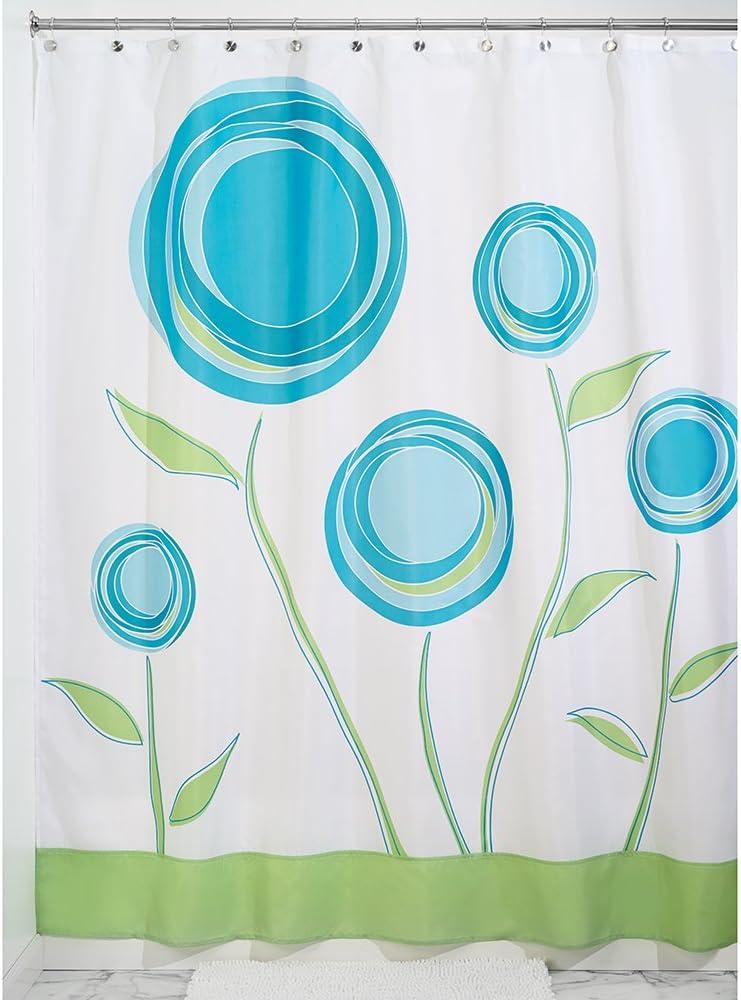 InterDesign Marigold Cortina de baño de diseño   Cortina de ducha con ojales   180 x 200 cm   Cortinas modernas con estampado de flores para ducha o bañera   Poliéster azul/verde