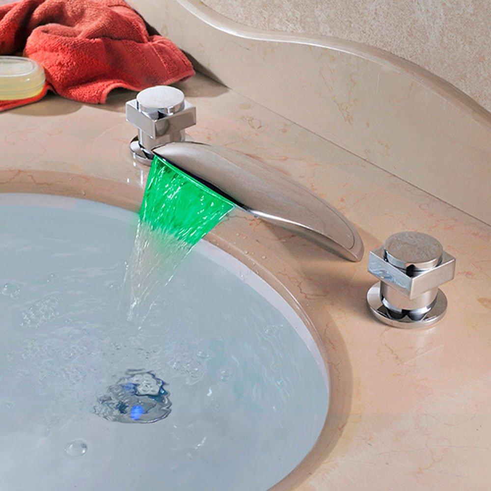 LED Temperaturregelung Farbe Heißer und Kalter Wasserhahn Kreative Mode Deck Berg Wasserfall Waschtischmischer