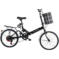 Viqie 20-inch Carbon Steel Bicycles, Folding Bike Variable Speed Male Female Adult Lady City Commuter Outdoor Sport Bike…