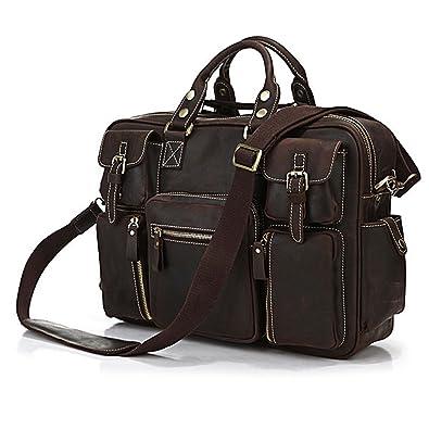 a225f763840b YAAGLE Rare Crazy Horse Leather Men s Briefcase Laptop Bag Dispatch  Shoulder Huge Handbag (16.5 quot