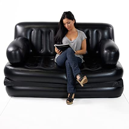 HOME BUY 5 in 1 Air Sofa Bed with Pump Lounge Couch Mattress Inflatable (3 Seater)