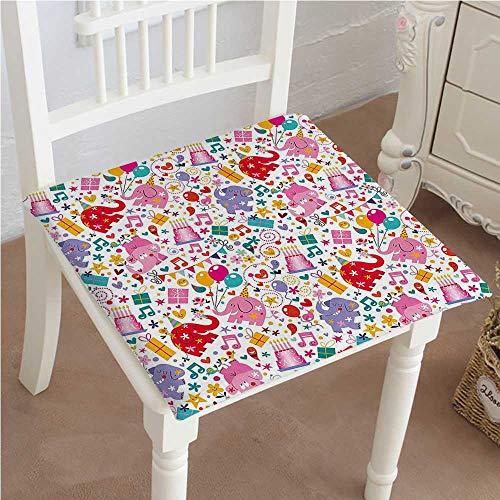 Chair Pads Squared Seat for Kids Children Party Theme Animals Elephant Hearts and Balloons Multicolor Outdoor Dining Garden Patio Home Kitchen Office 18''x18''x2pcs by Mikihome