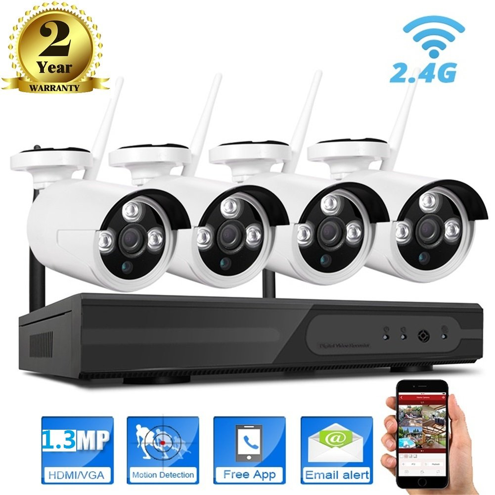 960P Wireless Camera System,Wifi IP NVR Security Kits,4x1.3 Megapixel,36 IR Night Vision Light,IP66 Outdoor Weatherproof Metal Housing,Prefect for Home&Office Surveillance Video Monitoring Remote View